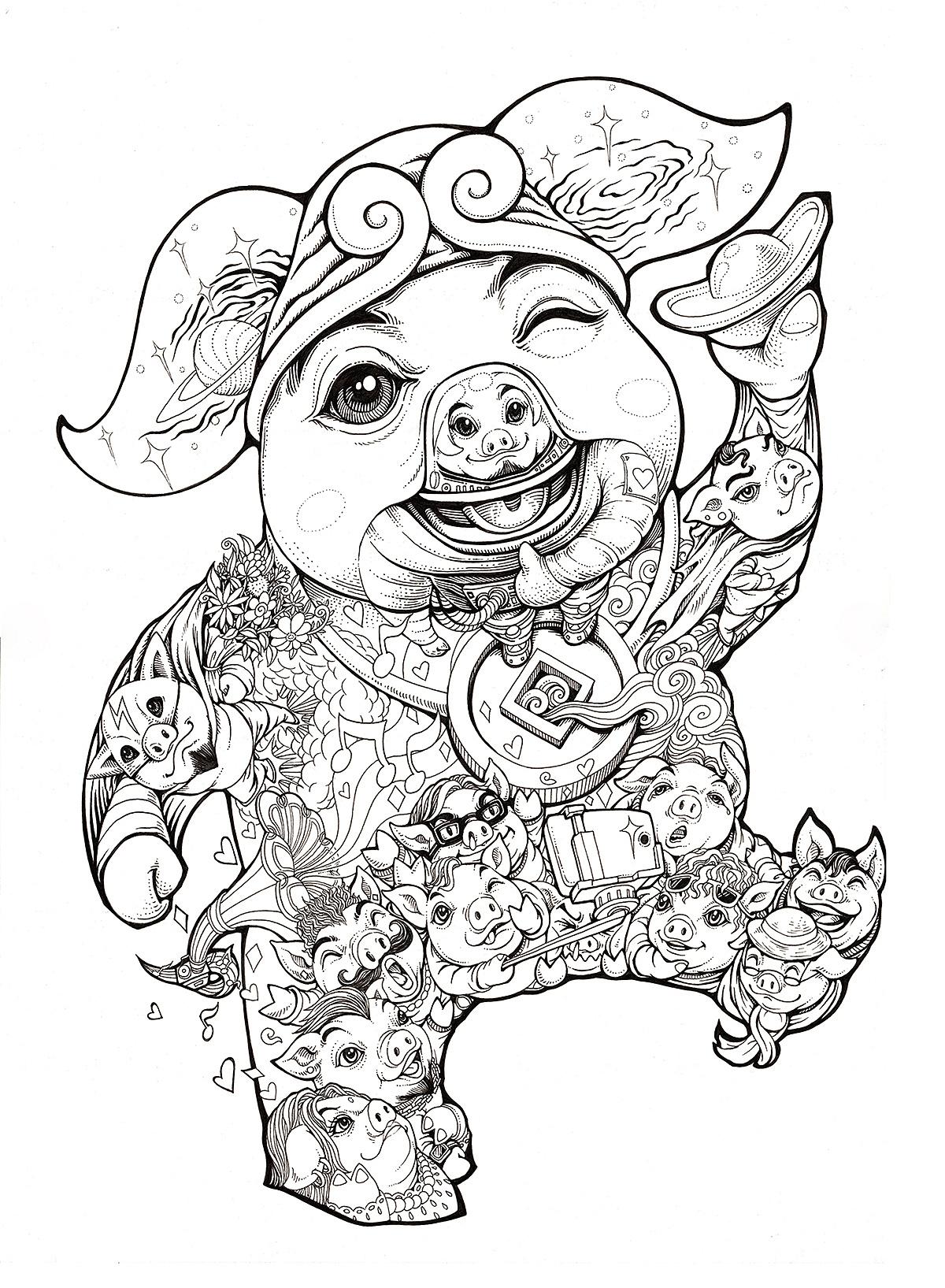手绘 扫描ps上色   用时:合计3天左右  为明年己亥年创作的猪猪图案一