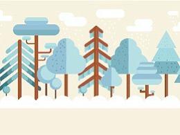 矢量树林雪景