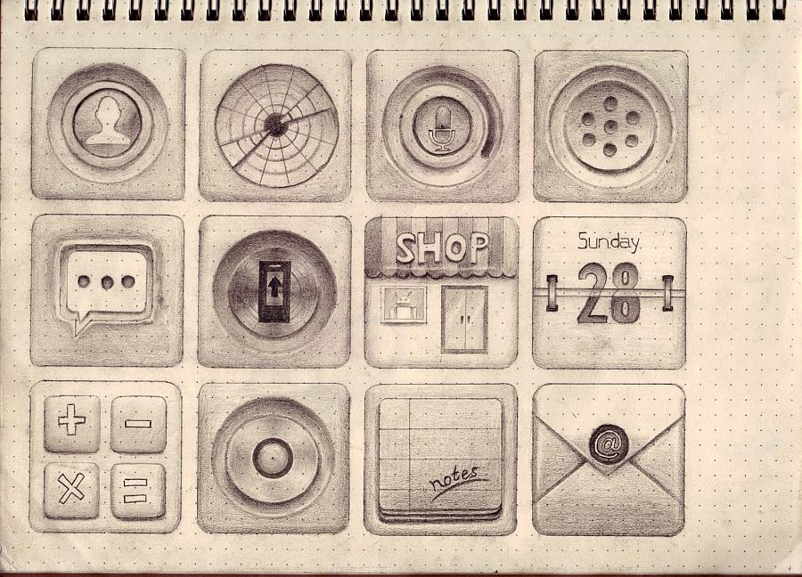 手绘图标原型设计 2.5d图标