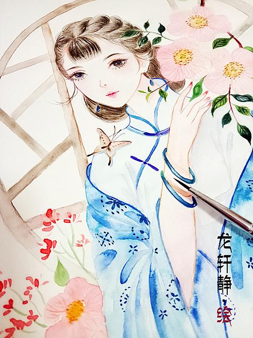 民国少女水彩手绘
