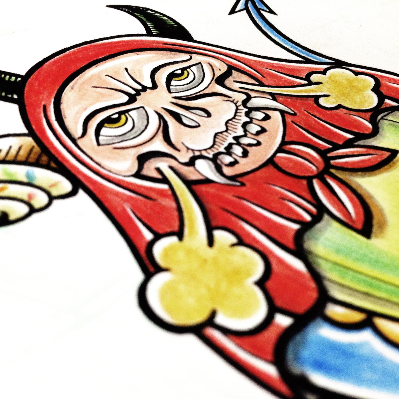 手绘插画涂鸦 骷髅套娃