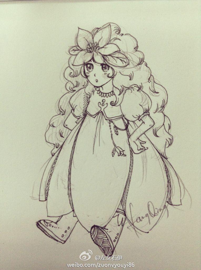 铅笔手绘古装美女发型