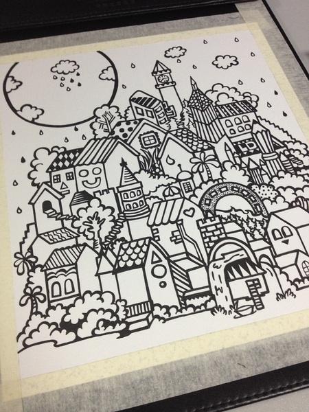 一个漫长的画,手绘彩色铅笔画,房子