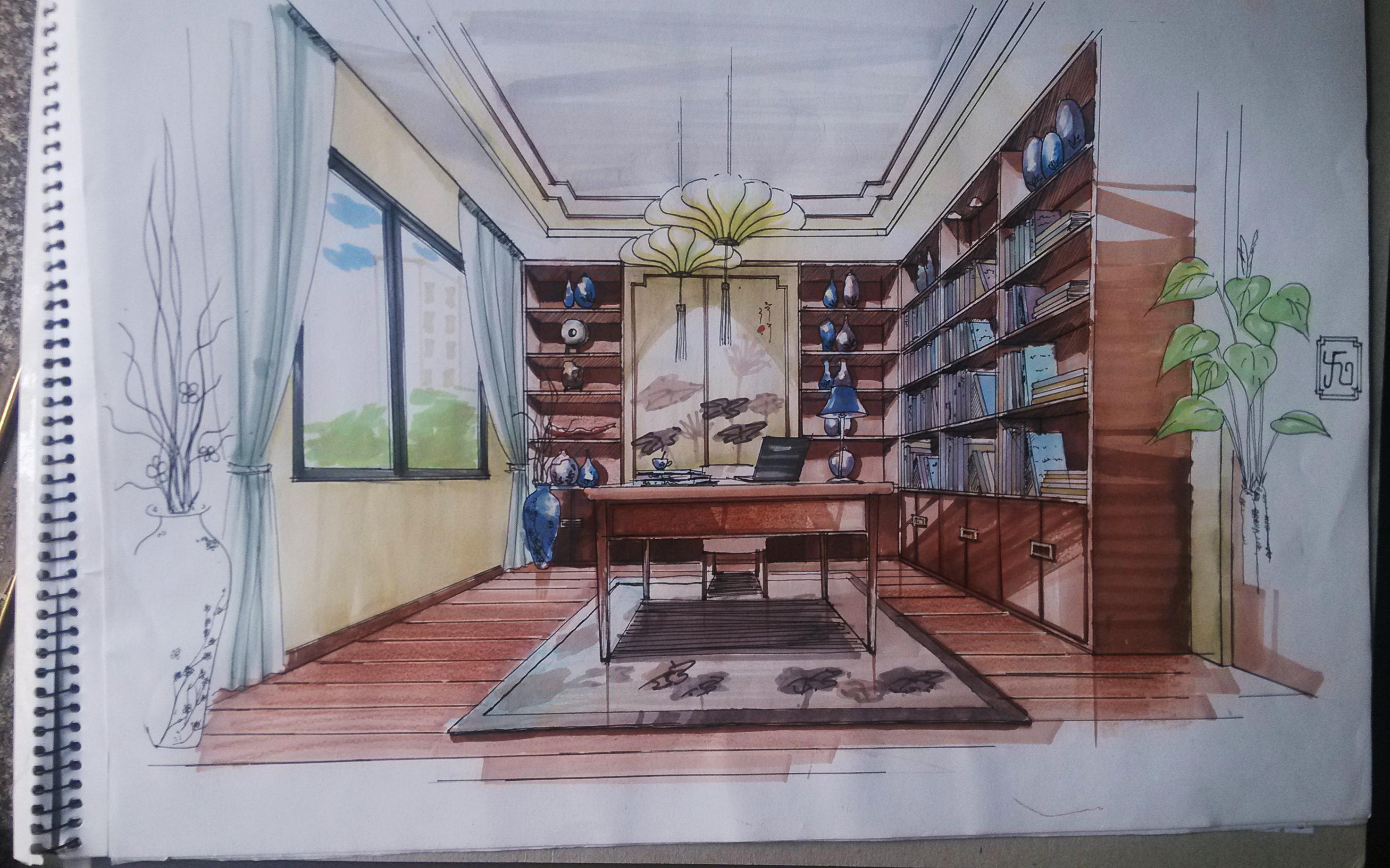 水墨江南别墅设计书房手绘效果图