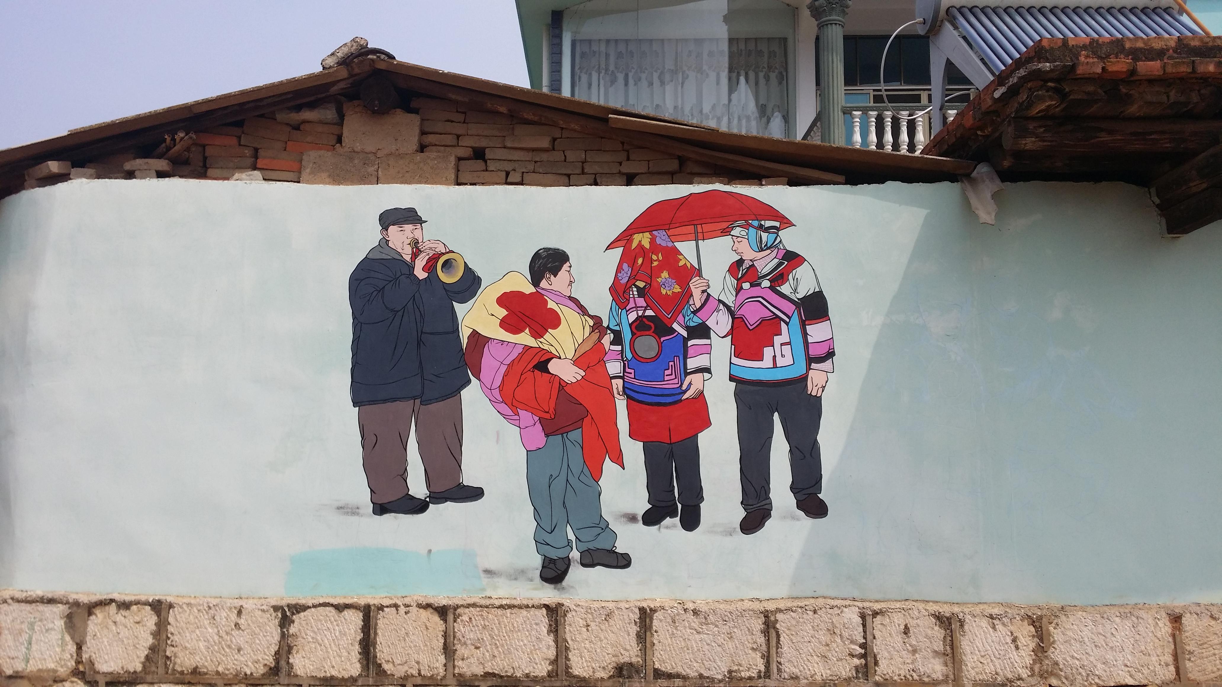 彝族阿哲墙体彩绘.