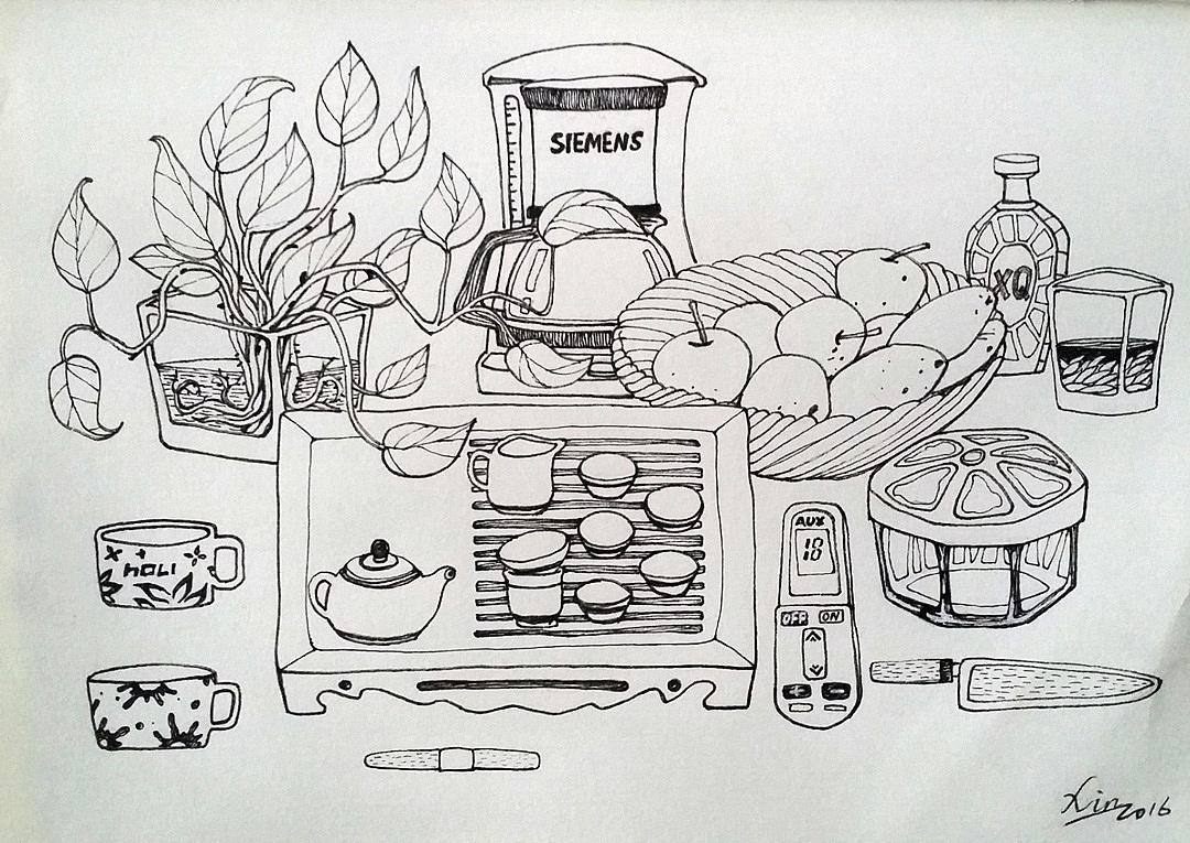 钢笔手绘室内单体沙发