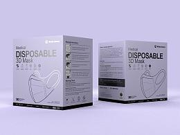 医用一次性3D立体口罩包装盒设计-悟杰品牌视觉设计