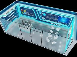 树上科技企业展厅科技感蓝白色调3D效果图设计