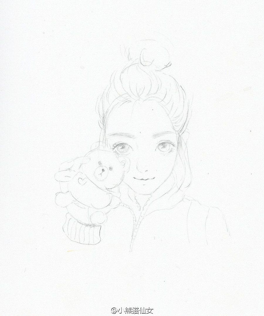 【小熊猫】水彩手绘人物水彩教程人物卡通头像手绘你