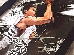 CBA廣東宏遠球星朱芳雨退役籃球插畫,美漫卡通