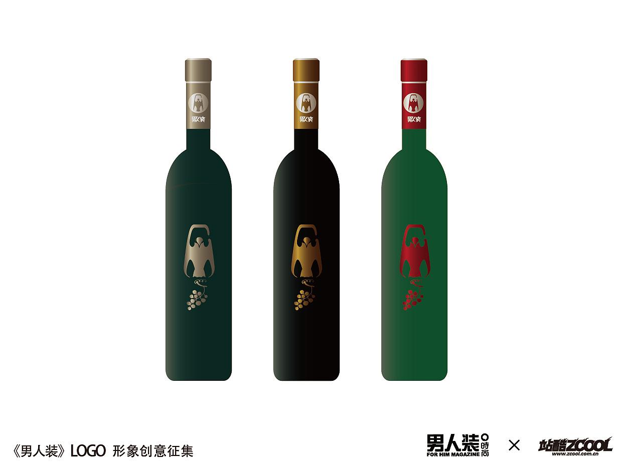 《男人装》 图形标志应用 红酒瓶贴