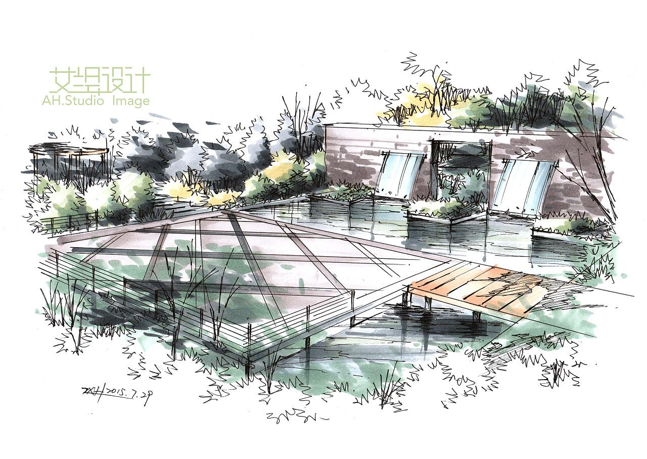 景观节点鸟瞰图表现步骤分享|空间|景观设计|画手绘的