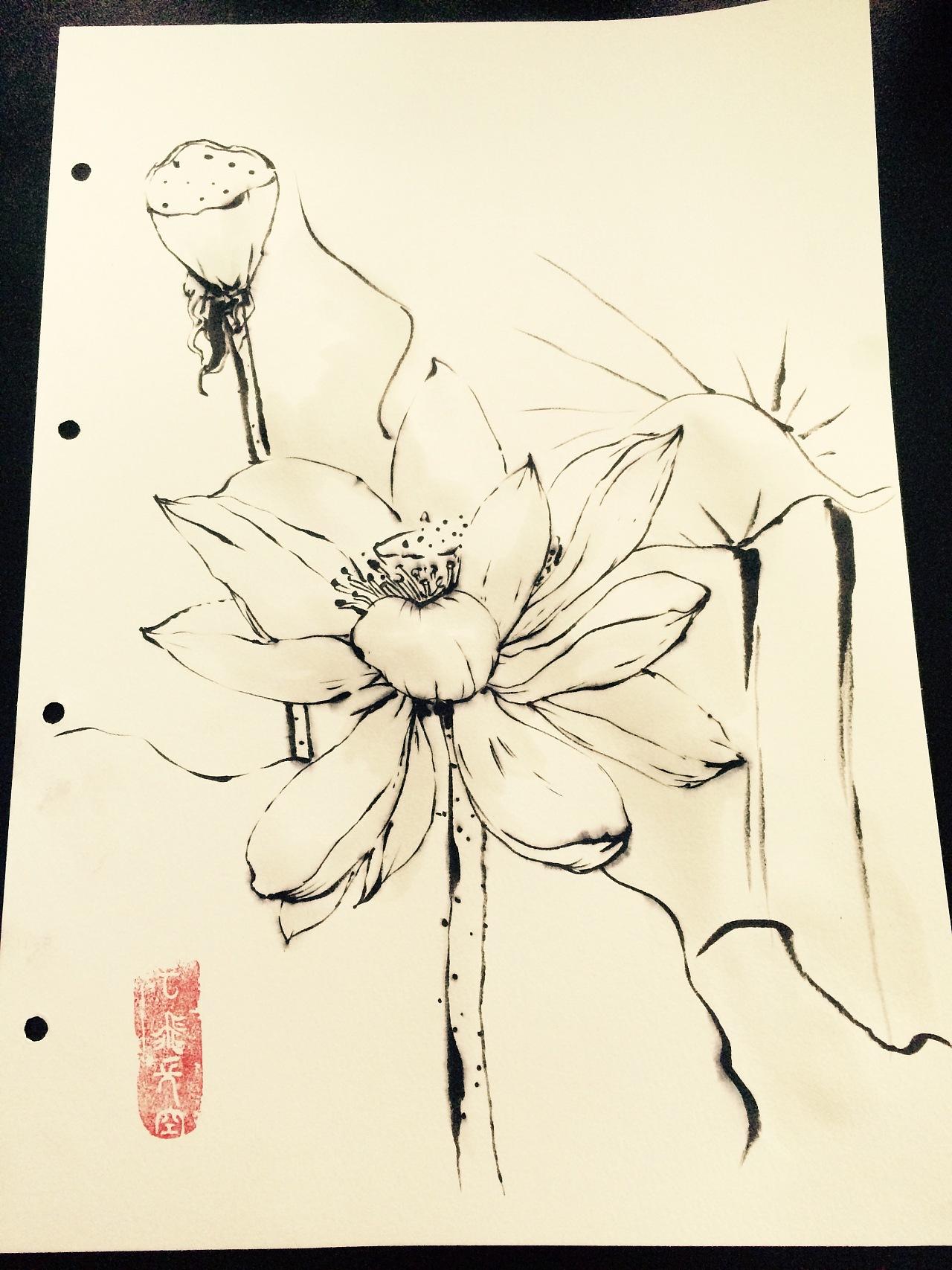 花卉植物动物线条水墨画
