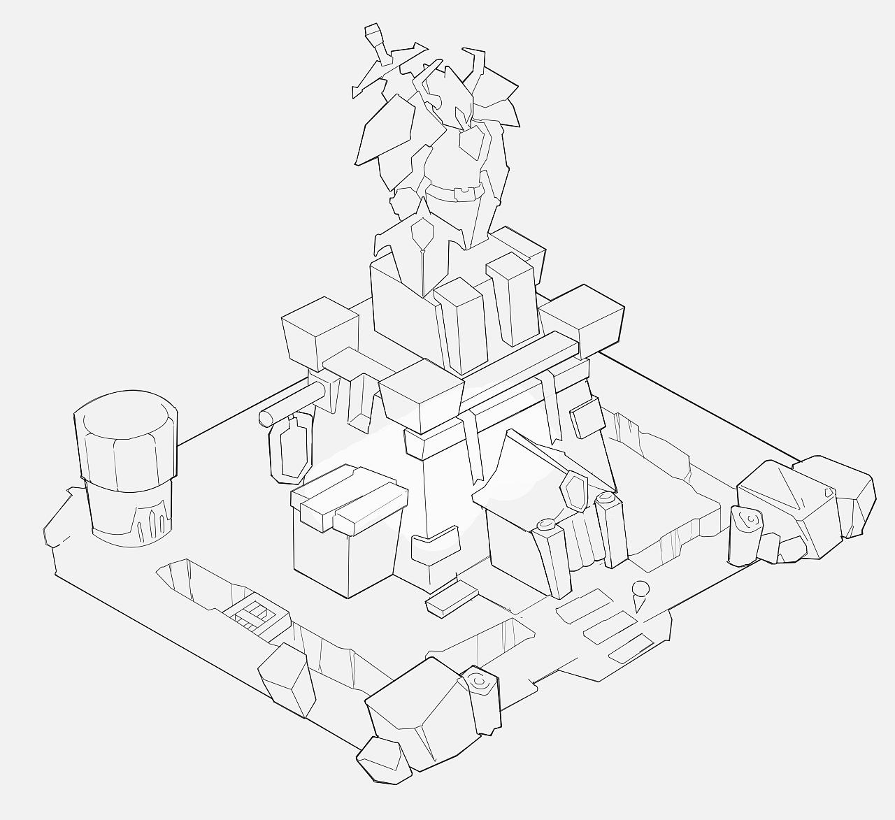 塔防游戏单体建筑设计线稿