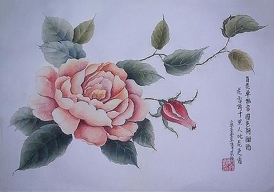 一支笔 水粉颜料,纯苦逼手绘牡丹花