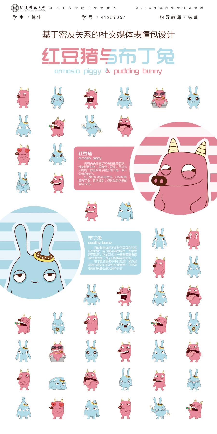 《红豆猪与动态兔》表情卡通形象v动态 网络呼吸表情包布丁图片