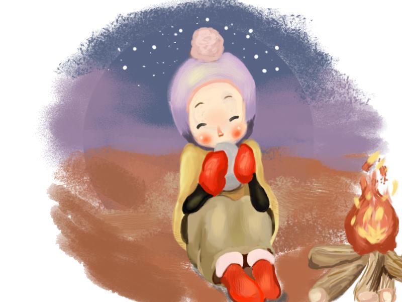 烤火-边吃插画边手绘的小女孩|厕所习作|绘画|i上女生初中面包