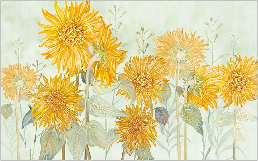 思舍布莱曼美式艺术壁纸电视背景影视墙纸客厅定制壁画墙布向日葵图片
