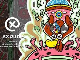 XX鸭-美食系列插画