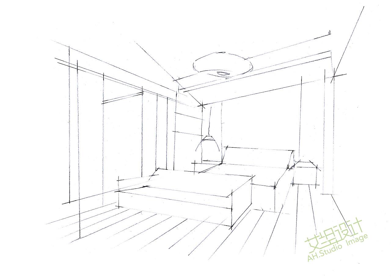 艾绘设计-酒店客房马克笔教程步骤分享|空间|室内设计