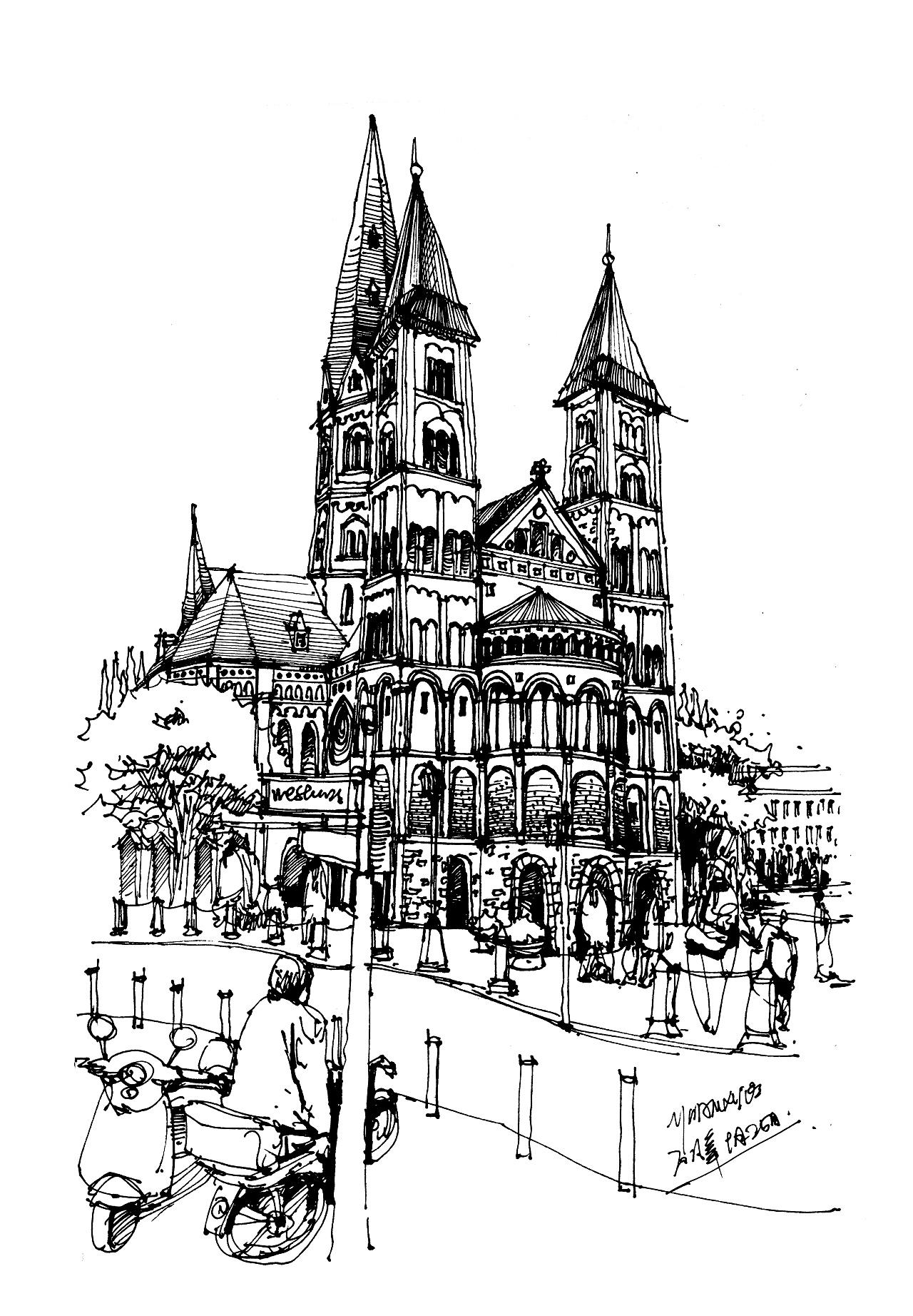 发一波近期钢笔手绘建筑作品