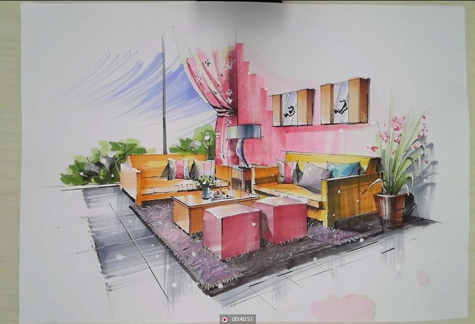 室内手绘马克笔上色表现|空间|室内设计|一叶手绘
