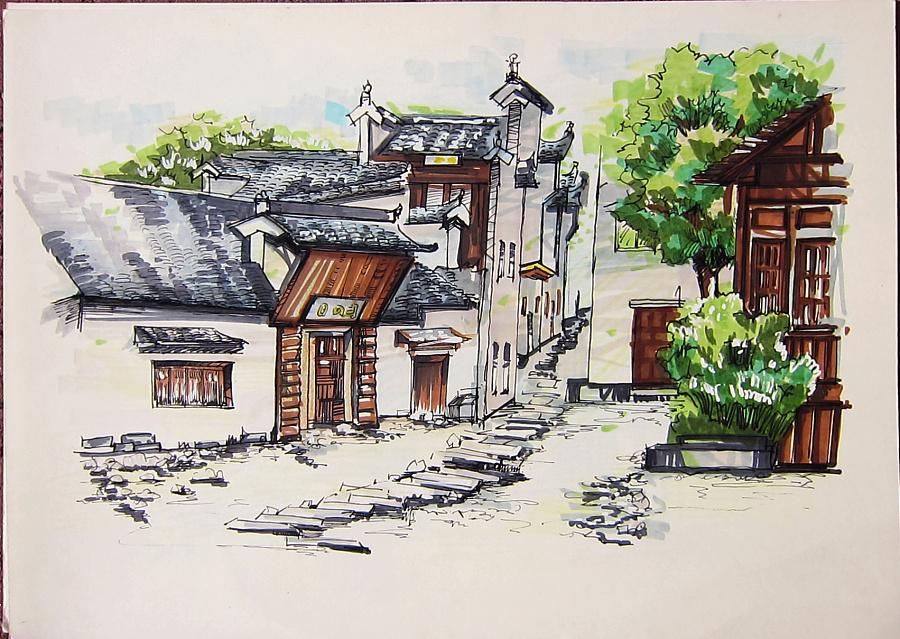 民居建筑-手绘作品1
