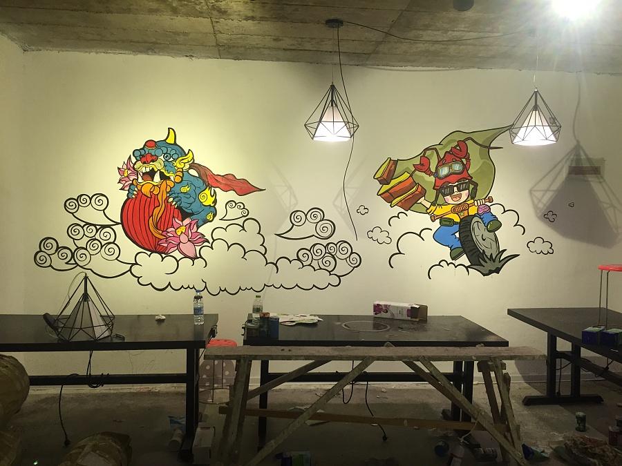 〔豹小玉手绘〕烧烤店手绘墙/手绘油桶|墙绘/立体画图片