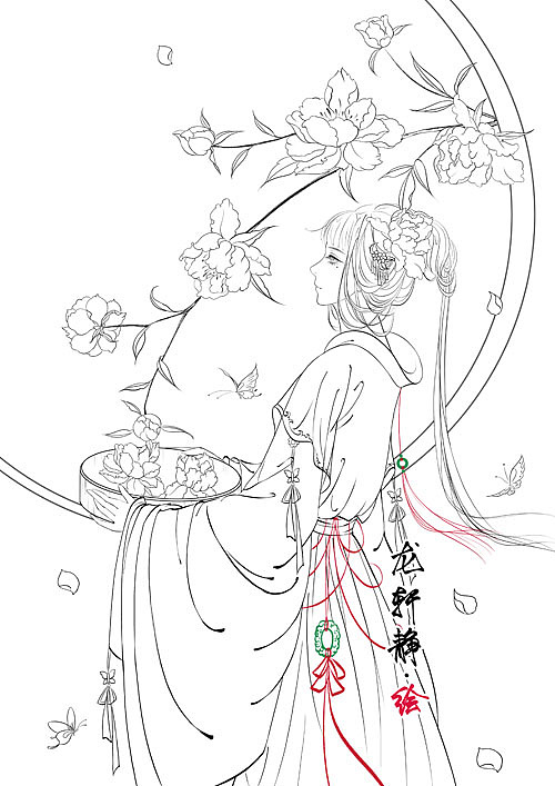 唯美古风美人插画——花月美人系列之芍药