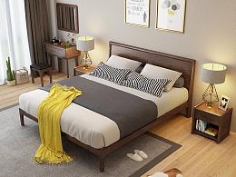 北欧实木床3D设计,胡桃木实木床,家具3D效果图制作