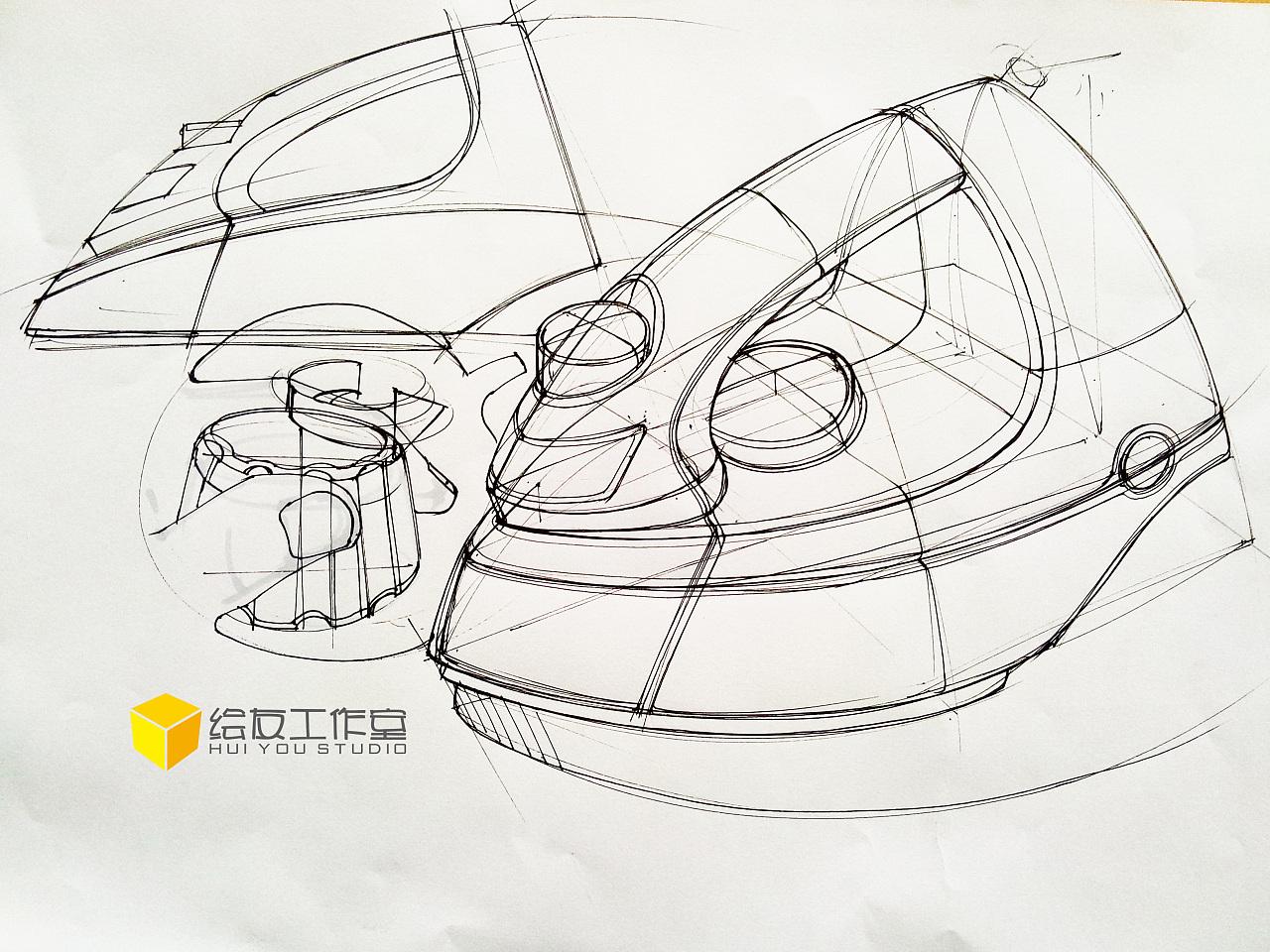 工业设计产品手绘之电熨斗(内含作画视频过程)