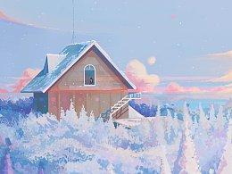 插画——雪国