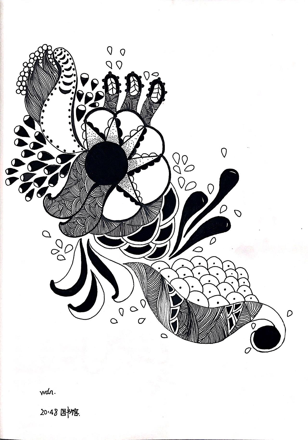 禅绕画 线描装饰画 手绘 插画