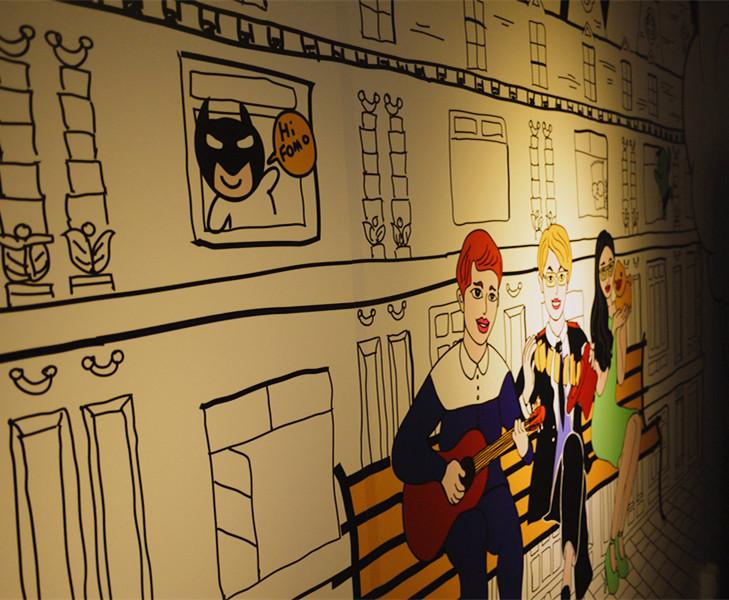 青年旅社手绘墙面|商业插画|插画|亚历山大不失眠