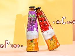 年轻时尚的草莓味果啤包装设计 海伦司啤酒标签设计