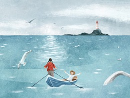 书封插画 : 张炜作品《初春的海》