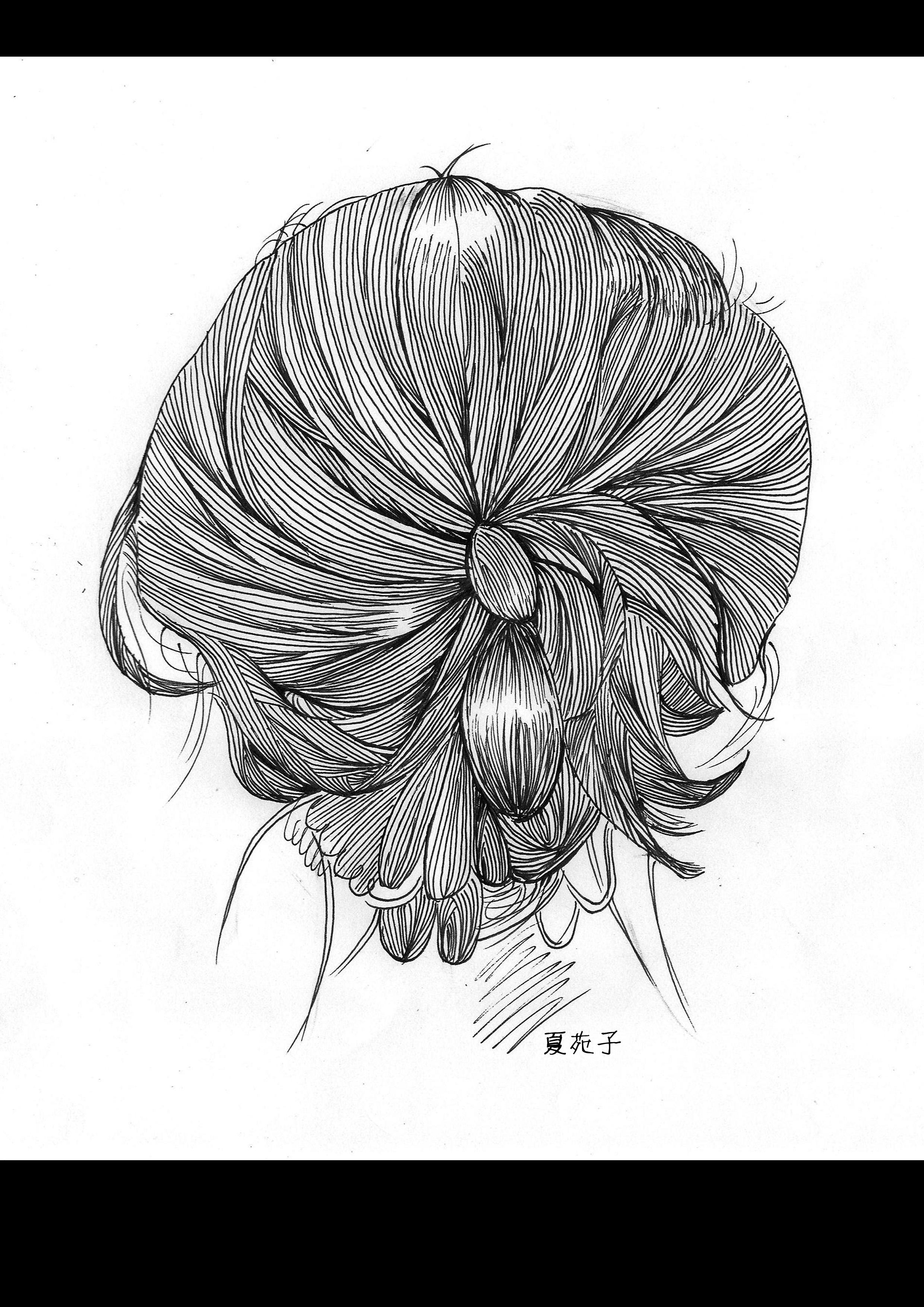 手绘头发图片唯美