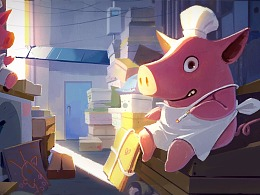 Pig chef smokes