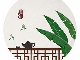 水墨中国风插画——竹间系列·窗外芭蕉