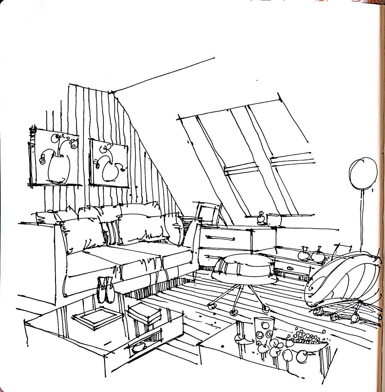 室内单体线稿