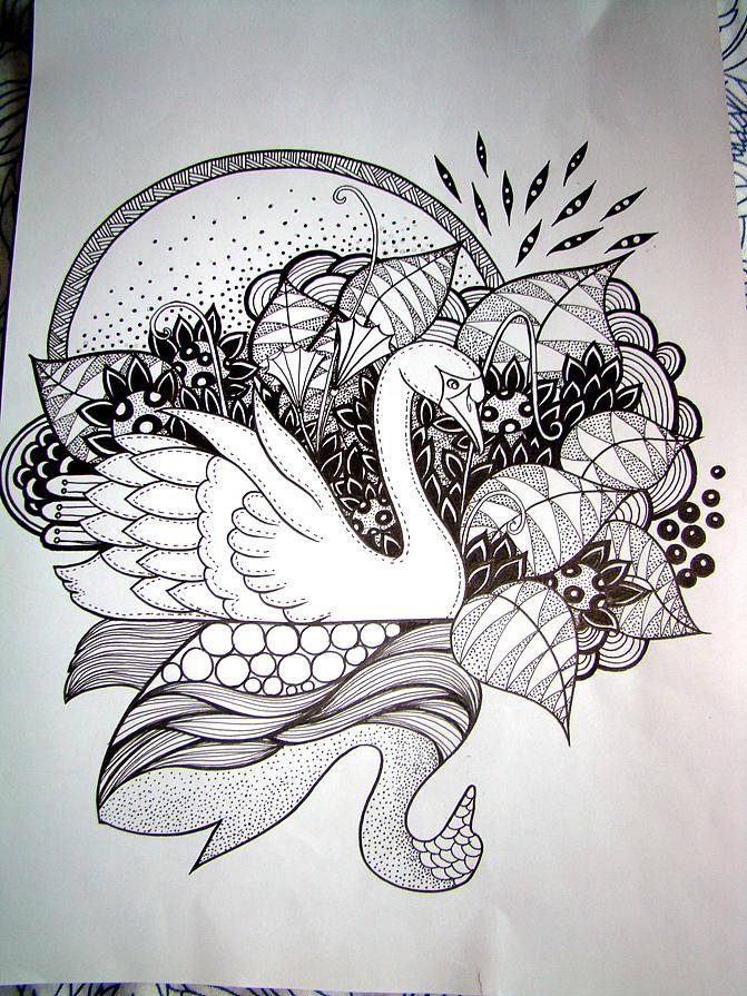 天鹅手绘图片素材