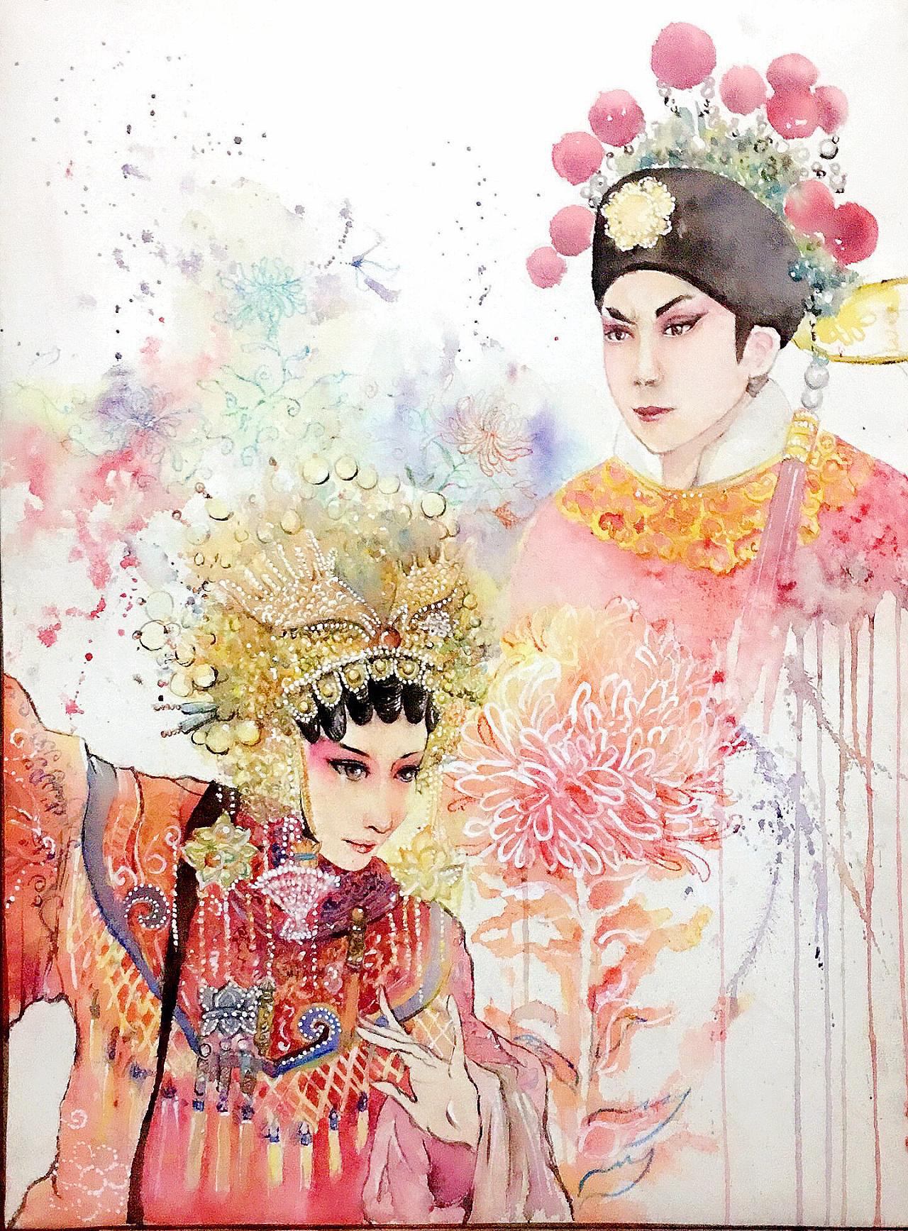 以粤剧帝女花为主要创作主题,结合一些粤剧图片