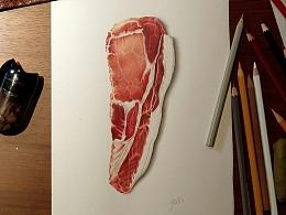 彩铅插画—肉