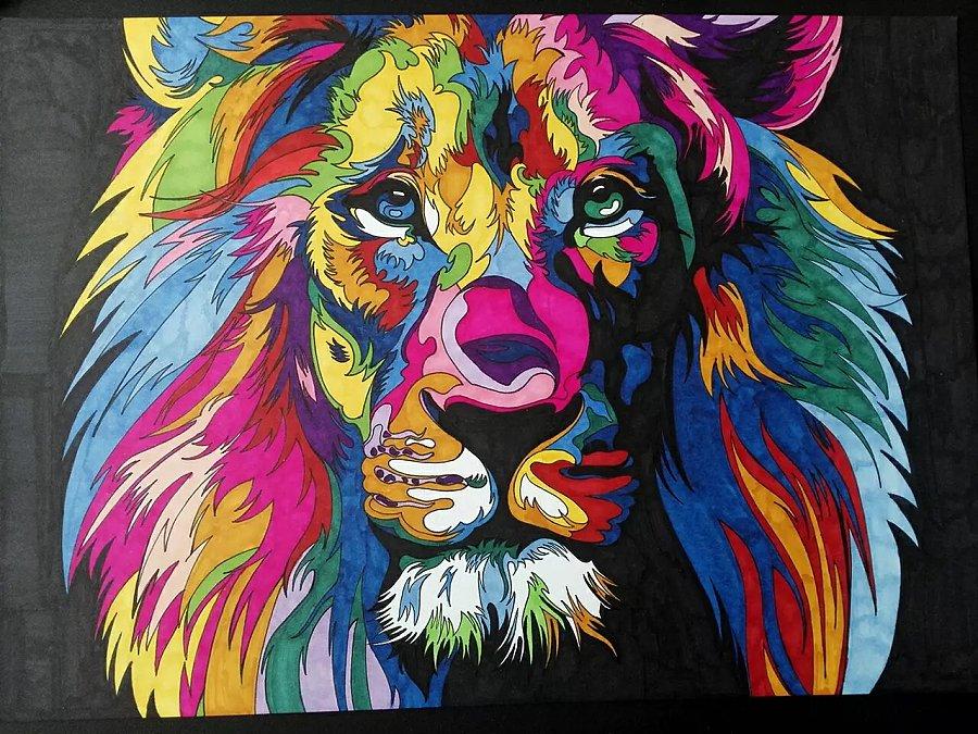 使用了:其他 - 马克笔 使用了:其他 - 彩色铅笔        狮子步骤图
