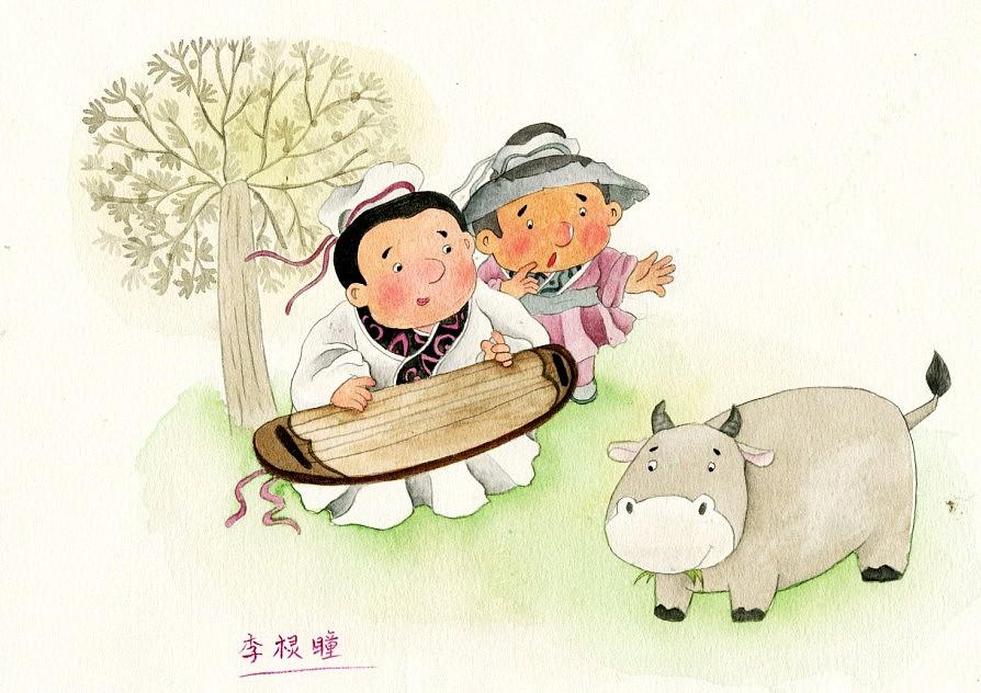 中国风手绘水彩儿童画,成语故事,对牛弹琴