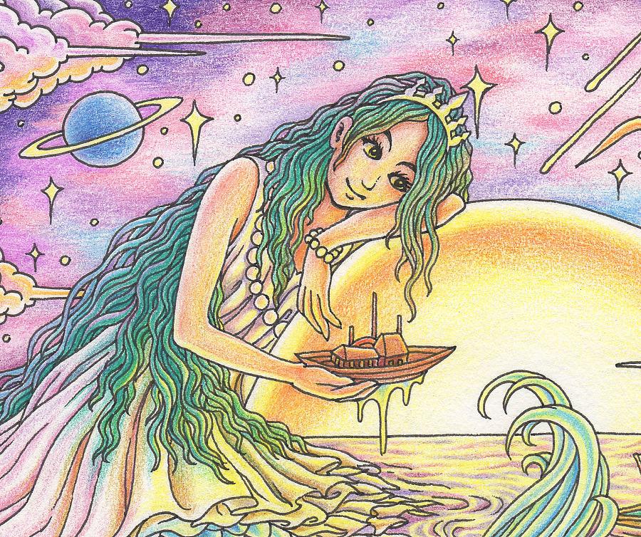 原创作品:《美人鱼》彩铅手绘 过程详解