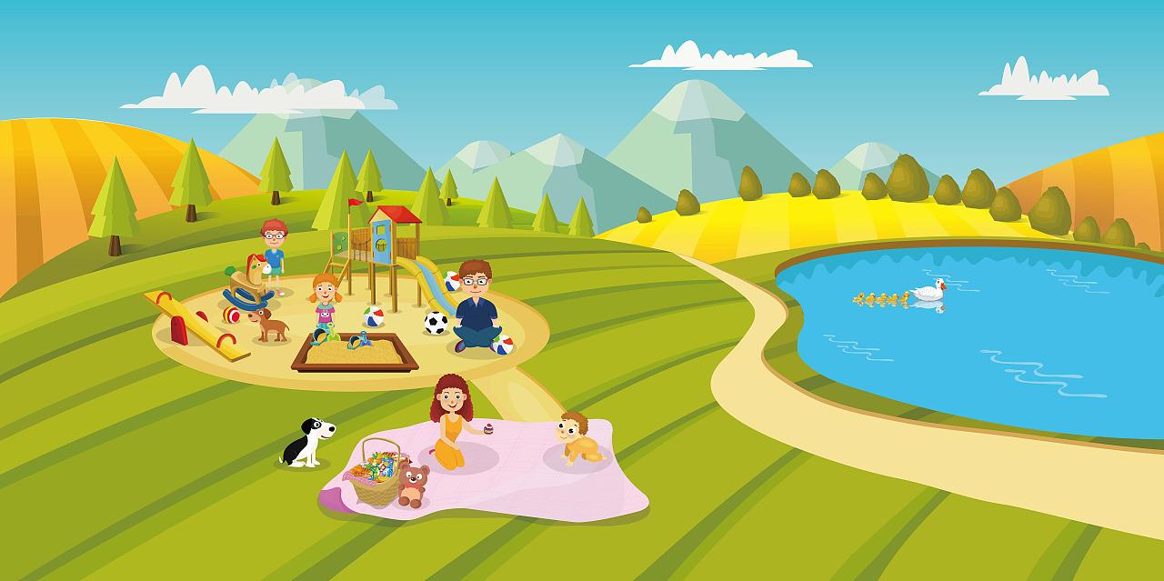 野餐动漫图片手绘