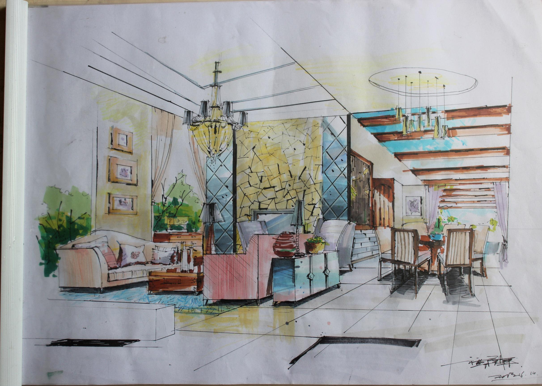 家居 简笔画 起居室 设计 手绘 线稿 装修 2424_1728