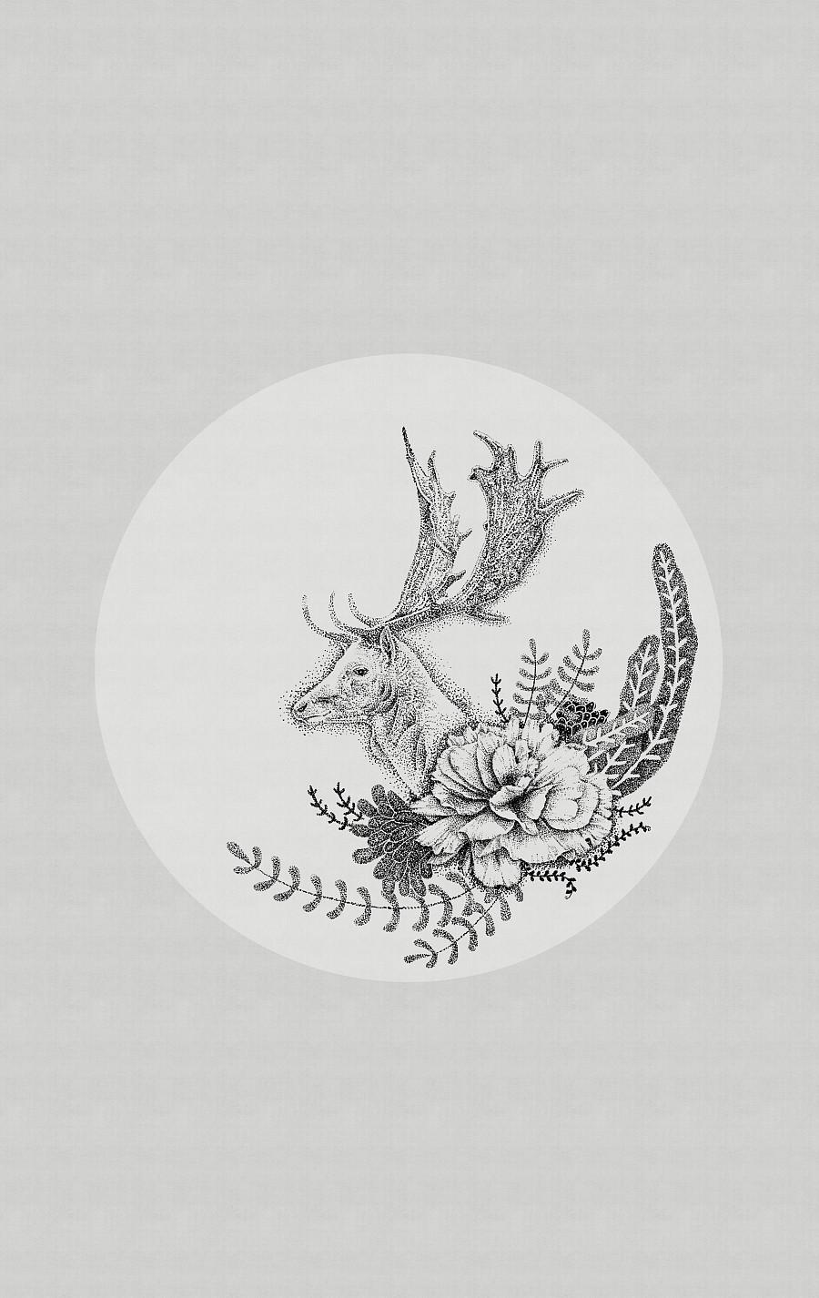 插画设计 鹿 点绘插画 黑白插画 动植物插画设计