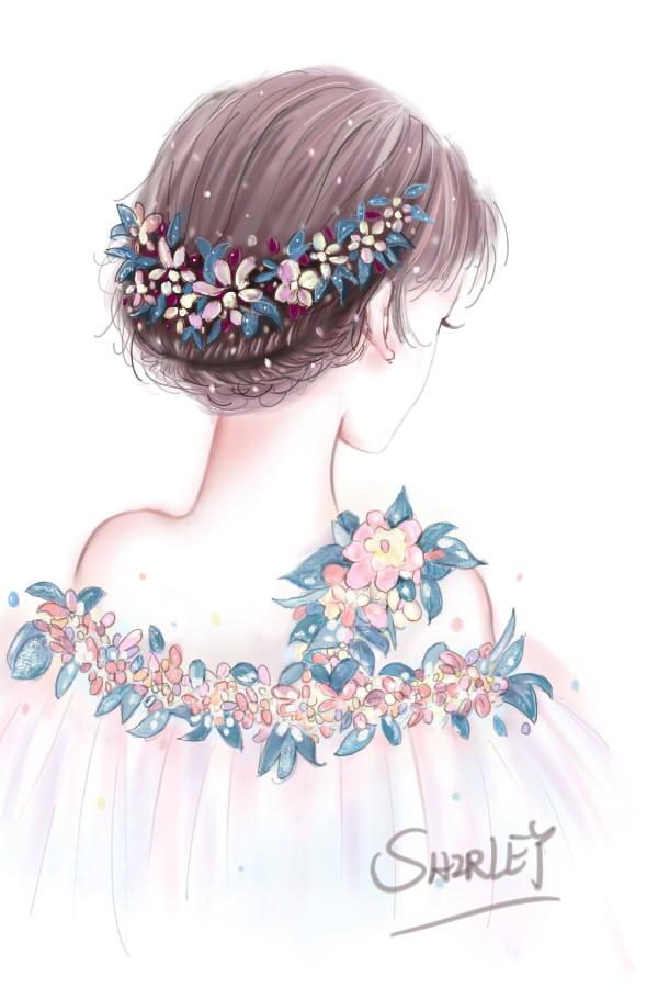 手绘 背影仙女